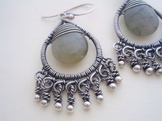 Captured Stone Dangles---Made with sterling silver, fine silver, and smooth moss agate briolette stones.