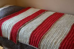 SOLD***Handmade Large Red and White Crochet Afghan by TsEclecticCorner