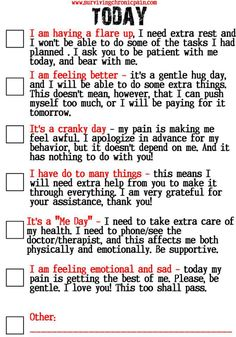 How to tell your Friends and Family What Kind of Day It Is? Living with Lupus/ Fibromyalgia / Chronic Pain Chronic Migraines, Chronic Illness, Chronic Pain, Fibromyalgia Pain, Pcos, Psoriasis Diet, Ankylosing Spondylitis, Trigeminal Neuralgia, Messages