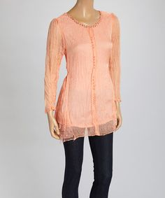 Look what I found on #zulily! Coral Crinkle Silk-Blend Top #zulilyfinds