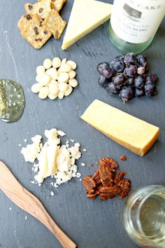 Wine and Cheese Platter - Simply Happenstance Cocktail Recipes, Drink Recipes, Cocktails, Cooking Recipes, Charcuterie Cheese, Cheese Platters, Antipasto, Yummy Eats, Fun Drinks