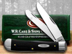 CASE XX Black G10 Trapper Pocket Knife Knives #Case