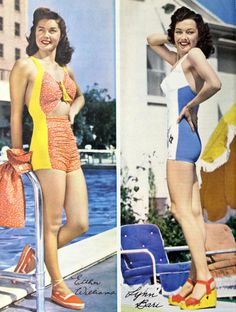 Actresses Esther Williams and Lynn Bari show off their summer glow. Snappy swimsuits paired with immaculate makeup and hair, Retro Swimwear, Summer Swimwear, 1940s Fashion, Vintage Fashion, Vintage Beach Photos, Esther Williams, Vintage Bikini, Holiday Makeup, 1940s Dresses