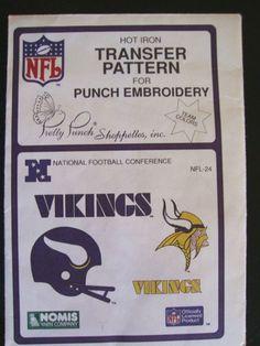Vtg NFL Minnesota Vikings Transfer Pattern Embroidery
