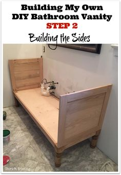 Building My Own DIY Bathroom Vanity - STEP 2 - Building the Sides. See the entire series and tutorials! - Thrift Diving