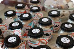 baby food jar favors for a mustache party