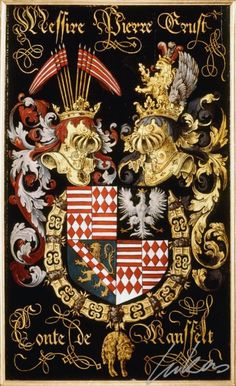 "(209) Peter Ernest, comte de MANNSFELD  (1517-1604) -- ""Messire Pierre Ernst, conte de Mansfelt"" -- Armorial plate from the Order of the Golden Fleece, 1559, Saint Bavo Cathedral, Gent"