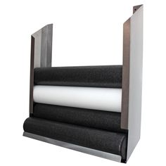 Convenient wall storage for 6 foam rollers. The rack has polished stainless steel construction. The rack ships unassembled, but once assembled one can easily load the items at the top and remove them from the bottom.