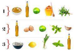 1 - 2 colheres de mostarda Dijon + suco de 1 limão + 1 colher de chá de mel + 3 colheres de azeite + tomilho à gosto  2 - ½ xícara de azeite + nozes picadas + suco de ½ limão + ½ xícara de manjericão + 1 alho ralado  3 - 1 xícara de iogurte + 3 colheres de azeite + raspas de 1 limão + ½ xícara de hortelã + 1 cebolinha