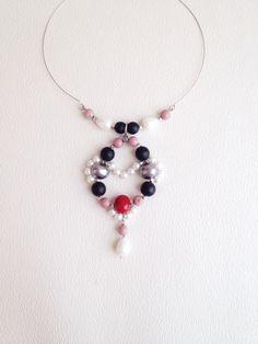 Necklace by Anastas Jewelry. Колье ручной работы из жемчуга майорка, шунгита и радонита.