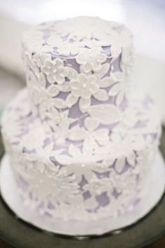 Lavender and white lace wedding cake
