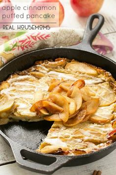 This giant Apple Cinnamon Puffed Pancake bakes in the oven - no more standing at a hot stove flipping dozens of pancakes. It's the perfect fall breakfast and the cinnamon glaze takes it over the top! Baked Pancakes, Breakfast Pancakes, Pancakes And Waffles, Breakfast Dishes, Breakfast Casserole, Breakfast Recipes, Buttermilk Pancakes, Breakfast Items, Puff Pancake
