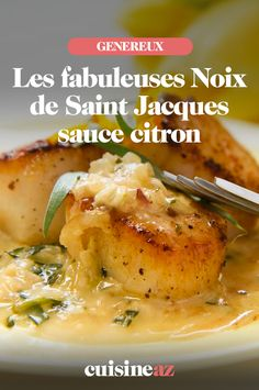 Saint-Jacques These scallops with lemon sauce will be perfect as a quick starter to prepare. Guacamole Deviled Eggs, Fish Stew, Scallop Recipes, Healthy Menu, Lemon Sauce, Scallops, Seafood Recipes, Coco, Love Food