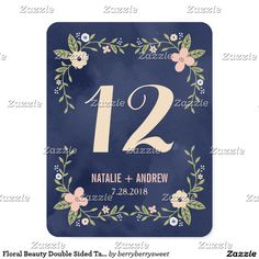 Floral Beauty Double Sided Table Number Card This Floral Beauty wedding suite designed by Berry Berry Sweet is a perfect start to a beautiful celebration. More colors and matching items are available at our website WWW.BERRYBERRYSWEET.COM or upon request.