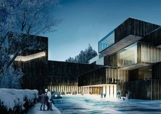 Winners in the competition Kongsberg kunnskaps- og kulturpark, a multi-purpose building comprises a variety of functions such as library, school and stages for different cultural puposes / Code and Mecanoo