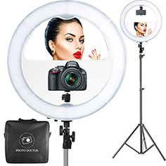 "18"" LED Video Ring Light with Mirror, 6ft Stand Tripod, Adjustable Heavy Duty Mount for DSLR, iPhone & Android Smartphones - Professional Studio Photography Dimmable Lighting Kit for Makeup & Youtube"