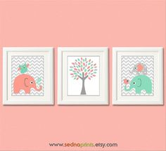 Light coral and mint Nursery Art Print Set unisex by SednaPrints