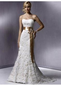 see details here:  A-line Strapless Embroidery Sleeveless Chapel Train Satin Wedding Dress