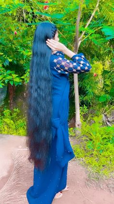 Indian Long Hair Braid, Braids For Long Hair, Long Hair Cuts, Long Hair Styles, Loose Hairstyles, Indian Hairstyles, Girl Hairstyles, Shiny Hair, Dark Hair