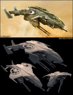 """Nave armada clase USNC Sparrowhawk, videojuego """"HALO"""" / USNC Sparrowhawk class gunship, """"HALO"""" videogame"""
