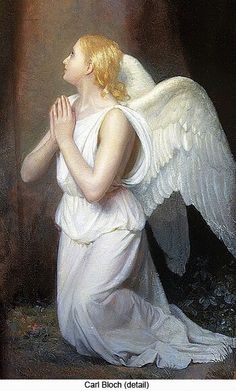 Angel art by Carl Heinrich Bloch (detail) Entertaining Angels, I Believe In Angels, Angel Pictures, Angels Among Us, Angels In Heaven, Heavenly Angels, Guardian Angels, Angel Art, Religious Art