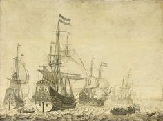 Zeegezicht met Hollandse oorlogsschepen, Willem van de Velde (I), 1630 - 1670