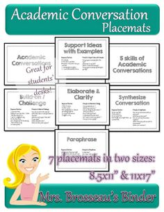 Academic Conversation placemats to use in your classroom.  Improves focus during conversation and allows for deeper, more meaningful conversations in your classroom!