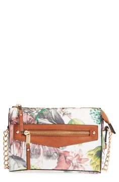 Gold studs and a chain strap add chic details to this cute floral crossbody.