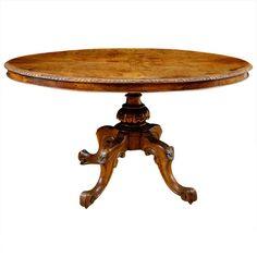 English Tilt-Top Center Pedestal Table in Walnut and Burl Walnut