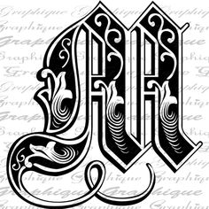LETTER Initial M Monogram Old ENGRAVING Style Type Text