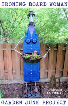diy ironing board garden junk art woman, crafts, gardening, repurposing upcycling, For details on all the parts see this Magic Garden, Garden Whimsy, Garden Junk, Garden Angels, Garden Crafts, Garden Projects, Art Projects, Upcycling Projects, Garden Ideas