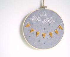 Rain Cloud and Yellow Banner Embroidery Hoop Art por ThePennyRunner, $28.00