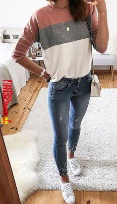 "#fall # passt zu Jeans. #blue #jeanshose #outfits #Fall # Outfits Blue Jeans. #Bläue #Jeans #outfits"", ""pinner"": {""username"": ""lisagruenbaum"", ""first_name"": ""Lisa"", ""domain_url"": null, ""is_default_image"": false, ""image_medium_url"":.. Outfit Jeans, Outfits Blue Jeans, Mode Outfits, Fashion Outfits, Womens Fashion, Fashion Ideas, Fashion Clothes, Gym Outfits, Fashion Trends"