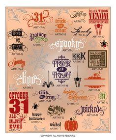 DIGITAL DOWNLOAD ... Halloween Word Art Vectors for Wall Graphics @ My Vinyl Designer #wallletters