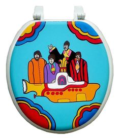 Yellow Submarine Hand Painted Toilet Seat Beatles Dad Grad Gift Funny Toilet Seats, Toilet Art, Small Toilet, Diy Bathroom Decor, Bathroom Ideas, Yellow Submarine, Grad Gifts, White Rooms, The Beatles