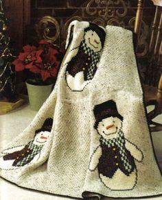 Fun Snowmen Christmas Afghan Throw Crochet Pattern | eBay