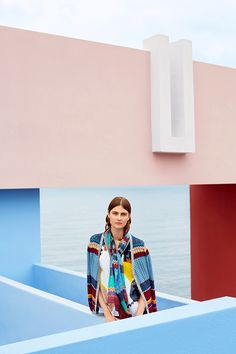 Campaign High Summer | Photography | Colorful | Striped Cardigan | Scarf | Top | Print