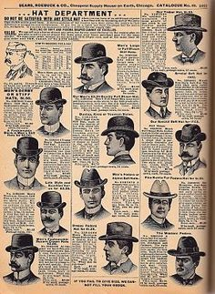 Men's hat wear were growing in style.  Different style hats were used for different events