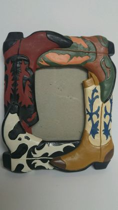 Cowboy Boot Picture Frame Chalkware Western 7.5x6 Western Photo Vintage Desktop #Unbranded