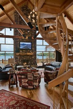 Lakeside living room and spiral stairs