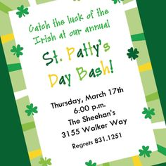 St. Patrick's Day JPEG Invitation, Printable Invitation Design, Custom Wording, JPEG File. $5.00, via Etsy.