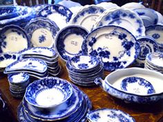 Tessie Bowman's collection of Flow Blue china Flow Blue China, Blue And White China, Love Blue, Blue Dishes, White Dishes, Blue Willow China, Blue Plates, China Patterns, White Decor