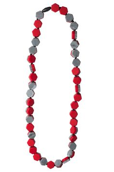 Jellystone Designs Silicone Teething Necklace- Seaside Scarlet Red Gray