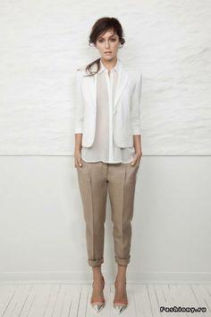 White oxford, white blazer, khaki pants, unexpected silver cap toe shoes