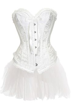 bf50f9e14bd Beautiful White Brocade Corset Dress With White Tulle Skirt Andfront Busk  Closure- 13.95-Corset