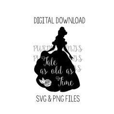 Belle Tale as old as Time SVG PNG JPG Digital by AllThePurdyThings