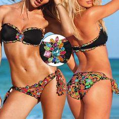 6d5760a05631f Wholesale 2pcs Sexy Women  s Floral Flower Rhinestones Swimming Suit  Swimwear Beach Bikini Size