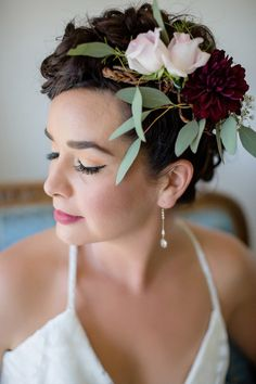 Boho-chic bridal look idea - flower + greenery crown for bride {William Innes Photography}