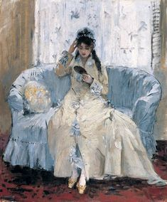 Young Woman at her Looking Glass 1876 - Berthe Morisot - (French: 1841-1895)