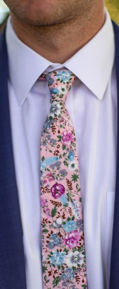 Floral Skinny Tie Pink Necktie for Groom and Groomsmen
